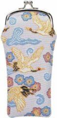 Blauwe Signare Brillenhouder - Brillenkoker - Japanese Crane -Japanse Kraanvogel