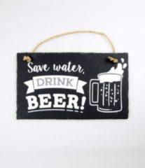 Witte Paper dreams Wandbord van Leisteen - met Spreuk: Save Water DRINK BEER! - Tekstbord