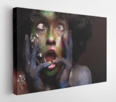 Onlinecanvas Woman portrait with afro hair style. Face art and body art. Fantasy painted girl smiling. Bright groen and violet make up - Modern Art Canvas - Horizontal - 243472498 - 40*30 Horizontal
