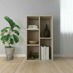 Bruine SJ interiors Boekenkast 45x25x80cm Eiken (Incl Magazine Houder) - Boeken kast - Boekenrek - badkamer rek - Woonkamer rek