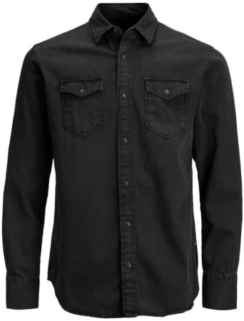 Afbeelding van Jack & Jones Jack and Jones Sheridan Heren Overhemd Zwart Kent Slim Fit - XL
