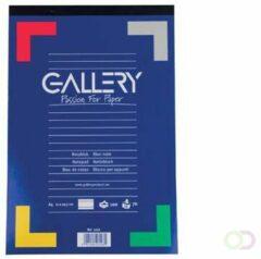 Blauwe Gallery schrijfblok formaat 21 x 297 cm (A4) gelijnd blok van 100 vel