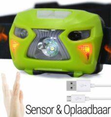 Groene Hoofdlamp LED Oplaadbaar Waterdicht | Bewegingssensor | USB Oplaadbare Ultraheldere Hoofd Zaklamp | King Mungo KMHL020