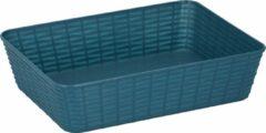 Merkloos / Sans marque 12x Rechthoekige blauwe kunststof opbergmanden met gevlochten structuur 25 x 19 x 6 cm - Plastic opbergers - Opbergen - Opbergmandjes