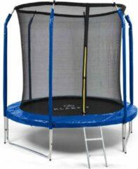 Klarfit Jumpstarter trampoline 2,5m Ø net , 120kg max. , door een stabiele ladder van volledig verzinkt staal , donkerblauw