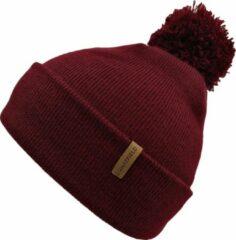 Nordic Muts Bordeaux Rood - Rode Beanie Met PomPom - Wakefield Headwear - Mutsen