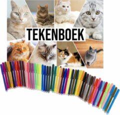 Witte Bellatio Decorations Schetsboek Katten liefhebbers A4 50 paginas met 50 viltstiften - Tekenboeken cadeau voor kinderen