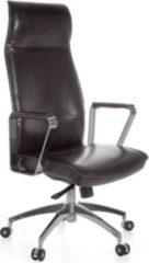 Amstyle AMSTYLE Bürostuhl VERONA Bezug Echtleder Braun Schreibtischstuhl X-XL 120 kg Synchronmechanik Chefsessel Kopfstütze