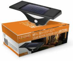 Zwarte LED LOVERS Buitenlamp met Bewegingssensor, Draadloze Tuinverlichting, Solar Wandlamp, Waterdicht Beveiligingslicht, Buitenverlichting, 22.4 x 10.8 x 11.2 cm
