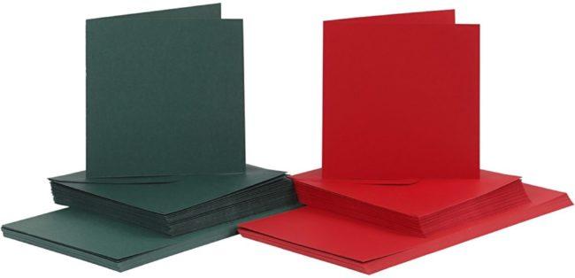 Afbeelding van Creativ company Kaarten en enveloppen, afmeting kaart 15x15 cm, afmeting envelop 16x16 cm, 50 sets, groen, rood