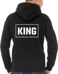 Zwarte B&C Collection King & Queen Hoodie Rectangle (King - Maat S)