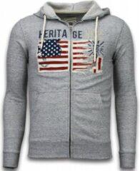 Enos Casual Vest - Embroidery American Heritage - Grijs - Maat: S