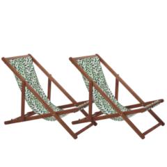 Beliani Strandstoel set van 2 acaciahout stof donkerbruin/wit/groen ANZIO