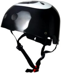 Zwarte Kiddimoto - Eight Ball - Medium - Geschikt voor 4-10jarige of hoofdomtrek van 53 tot 58 cm - Skatehelm - Fietshelm