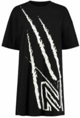 Zwarte NIKKIE T-shirtjurk Claw met printopdruk kaki