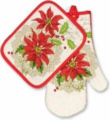 Rode Unique Living Kerst - Keukenset - 2 delig - met Kerstroos