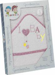 Gamberritos Badcape I Love Baby 100 X 100 Cm Katoen Wit/roze
