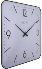 NeXtime Basic Square Dome - Klok - Stil uurwerk - Glas - Vierkant - 35 cm - Wit