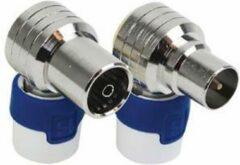 Hirschmann KOSWI 5 / KOKWI 5 Haakse IEC Coax-Pluggen - Male & Female - Set van 2