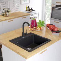 VidaXL Lavello da Cucina in Granito Vasca Singola Nero