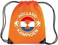 Bellatio Decorations Holland kampioen beker rugzakje - nylon sporttas oranje met rijgkoord - Nederland supporter - EK/ WK voetbal / Koningsdag