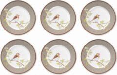 Beige Pip Studio Floral Ontbijtbord 21 cm Khaki - 6 stuks