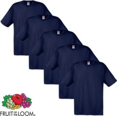 Marineblauwe Fruit of the Loom 5 Original T-shirt 100% katoen marineblauw XL