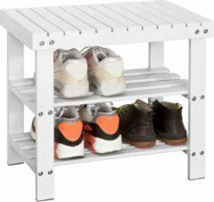 Witte Simpletrade Schoenenbank - Schoenenrek - Rubberen voetpoten - Waterafstotend - Bamboe - 50x29x45 cm