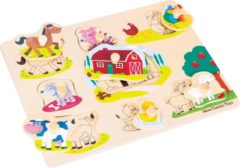 New Classic Toys Houten Legpuzzel Boerderijdieren - 8 puzzelstukjes - FSC® 100%-gecertificeerd hout