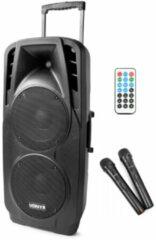 Zwarte Vonyx SPX-PA9210 mobiele speaker 2x 10 1000W op accu