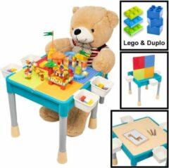 Blauwe Decopatent® - Kindertafel met 1 Stoeltje - Speeltafel met bouwplaat en vlakke kant - Geschikt voor Lego® & Duplo® Bouwstenen