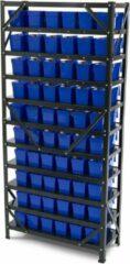 Blauwe Lemato Bakkenkast, Opbergsysteem, Stelling met 60 Opbergbakken