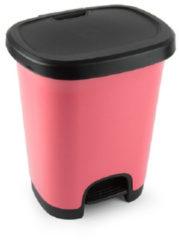 Forte Plastics Kunststof afvalemmers/vuilnisemmers/pedaalemmers in het roze/zwart van 27 liter met deksel en pedaal. 38 x 32 x 45 cm.