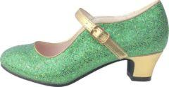 Spaansejurk NL Frozen Anna Prinsessen schoenen groen goud, Spaanse schoenen - maat 36 (binnenmaat 23 cm) bij jurk