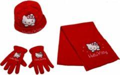 Hello Kitty winterset - Handschoenen, Muts en Sjaal - Rood - 54 cm