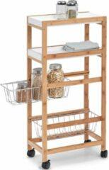 Bruine Keuken trolley/kastje smal/klein met uitschuifbare mandjes 40 x 83 cm - Zeller - Woondecoratie - Keuken/badkamer accessoires/benodigdheden - Bijzetkastjes - Trolleys