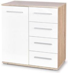 FD Furniture Commode Lima 82 cm hoog in sonoma eiken met hoogglans wit
