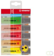 Rode Markeerstift Stabilo Boss Original plastic etui van 6 stuks: geel, groen, oranje, roze, blauw en rood