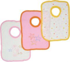 Bianco Blu Babies Slabber per 3 Roze-NDB04903C Maten: Een maat
