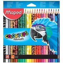 Maped kleurpotloden Color'Peps Animals, kartonnen etui met 24 stuks in geassorteerde kleuren