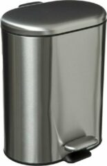 5Five® 5Five Vuilnisemmer Soft case - Inox - 6L - Zilver - Vuilbak - Pedaalemmer