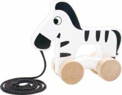Tooky Toy Zebra Trekfiguur 15 X 5,3 X 12,7 Cm Hout Zwart/wit