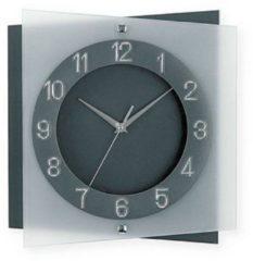 Grijze AMS 9323 - Klok - Vierkant - Glas - 27x27 cm - Grijs