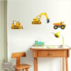 Gele Walldecor Graafmachine stickers een bulldozer, kiepwagen muurstickers