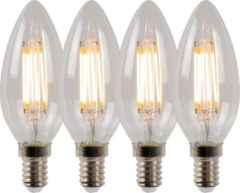 Lucide LED BULB - Filament lamp - Ø 3,5 cm - LED Dimb. - E14 - 4x4W 2700K - Transparant - Set van 4