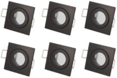 Ledin LED Line Inbouwspot - Vierkant - Aluminium - Waterdicht IP44 - MR11 Fitting - Mat Zwart - 6-Pack