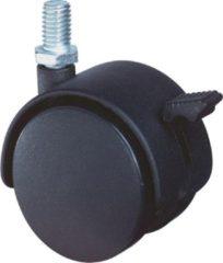 Klusgereedschapshop Meubelzwenkwiel zwart kunststof met rem en verzinkte draadstift t50kg m8 50mm