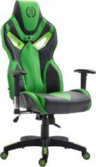 Luxe Comfort Gamingstoel volwassenen kunstleer - sportief design - groen/zwart - 76x72x133