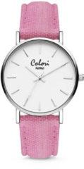 Colori XOXO 5 COL563 Horloge - Denim Band - Ø 36 mm - Roze / Zilverkleurig