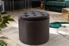 Interieurs online Poef met opbergruimte Fluweel zwart 50 cm